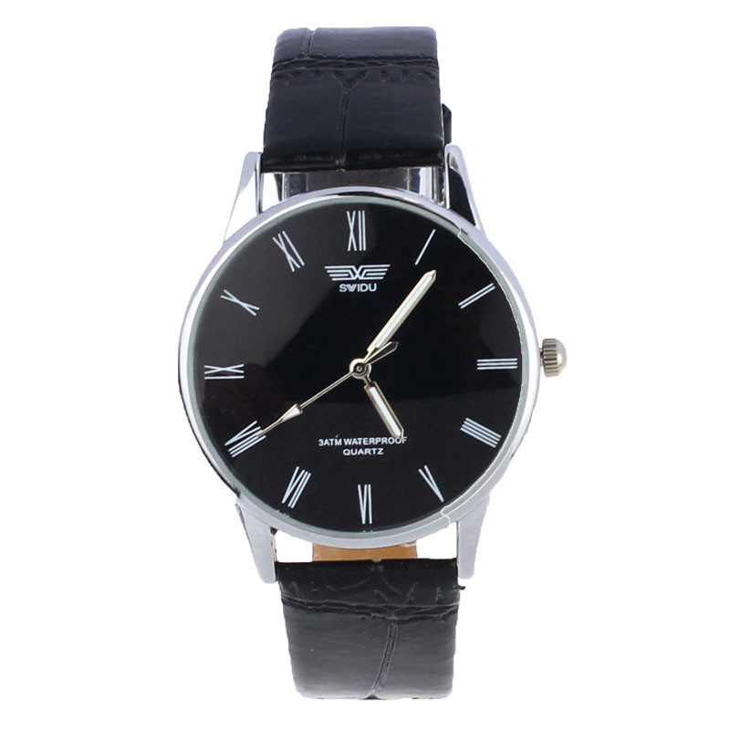 famous brand watches men luxury brand watch Classic Men Roman Number Analog Quartz PU Leather Wrist Watch Male Clock wholesale gorben brand classical silver polishing quartz men pocket watch round roman number necklace relogio de bolso gift men watch