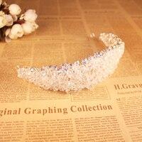 SLBRIDAL Art Deco Shining Big Crystal Rhinestones Flower Bridal Tiara Headpieces Wedding Princess Queen Crown Women Jewelry