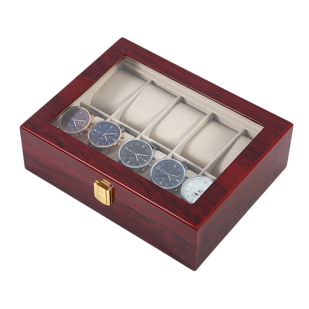 Luxury 10 Grids Wooden Wrist Watch Display Box Jewelry Storage Organizer Case dark wine red wooden watch display box automatic switch and lock watches case jewelry storage holder organizer free shipping
