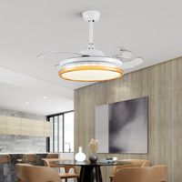 LED Hidden Invisible Iron ABS Acryl Remote Control Ceiling Fan Ceiling Lights. Lamp For Foyer