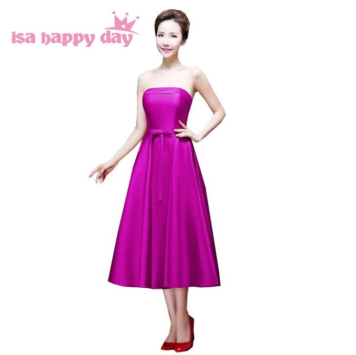 Lila Vestidos De Festa 2019 Mädchen Verband Kleid Frauen Tee Länge ärmel Farbige Mädchen Plus Größe Homecoming Kleider H2905 Abschlussballkleider