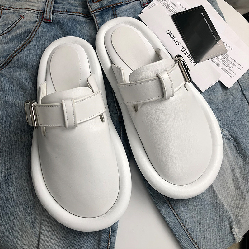 Prova Perfetto Brand Design Genuine Leather Slippers Women Round Toe Flat Shoes Woman Fashion Buckle Mules Shoes Leisure Shoes