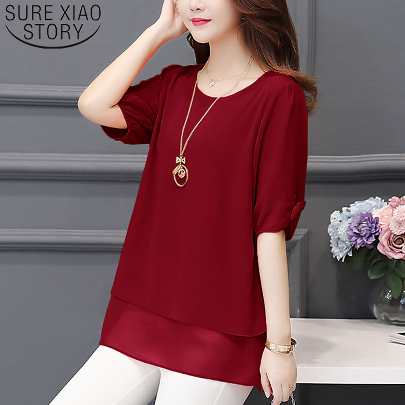 Korean Fashion Clothing 2019 Shirts Plus Size 4XL-5XL Chiffon Blouse Half Solid Lantern Sleeve Women Blouse And Tops 3726 50