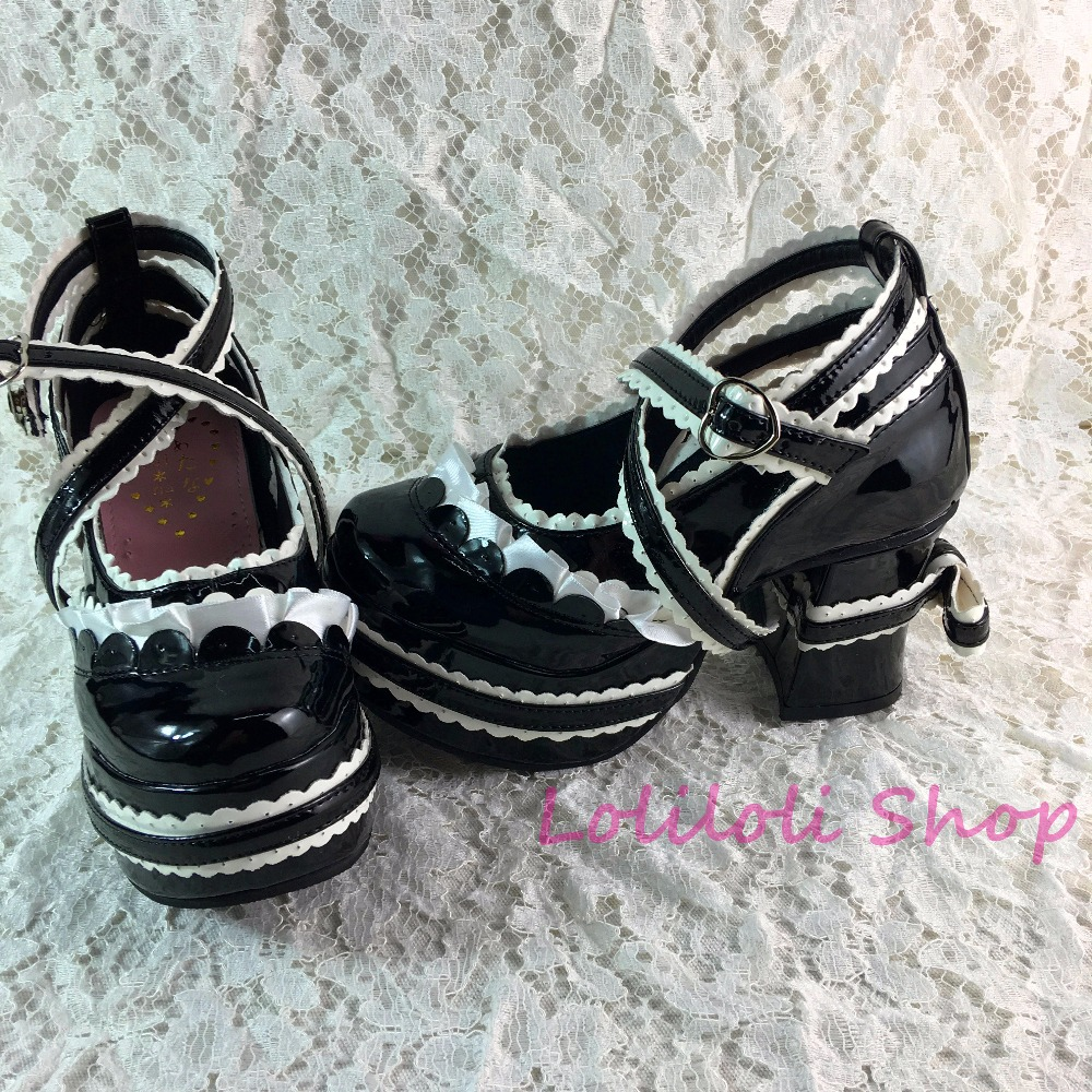 3f250fdd Princess gothic lolita shoes Large size shoes / special shaped shoes custom  Lolita ribbon lace with shoes custom 1280 mirror