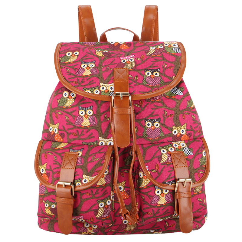 Sansarya Women Bag Vintage Classical Owl Printing Canvas Backpack Mochila Feminina Bagpack Drawstring Bag Bolsa Feminina