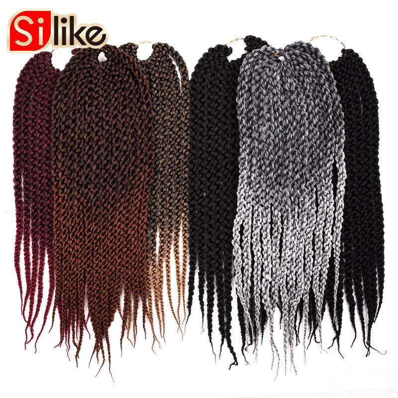 18 22 3D Cubic Twist Crochet Braids 12 Strands Ombre Black Bug Crochet Hair Extensions 6 Colors Crotchet womenSynthetic Hair