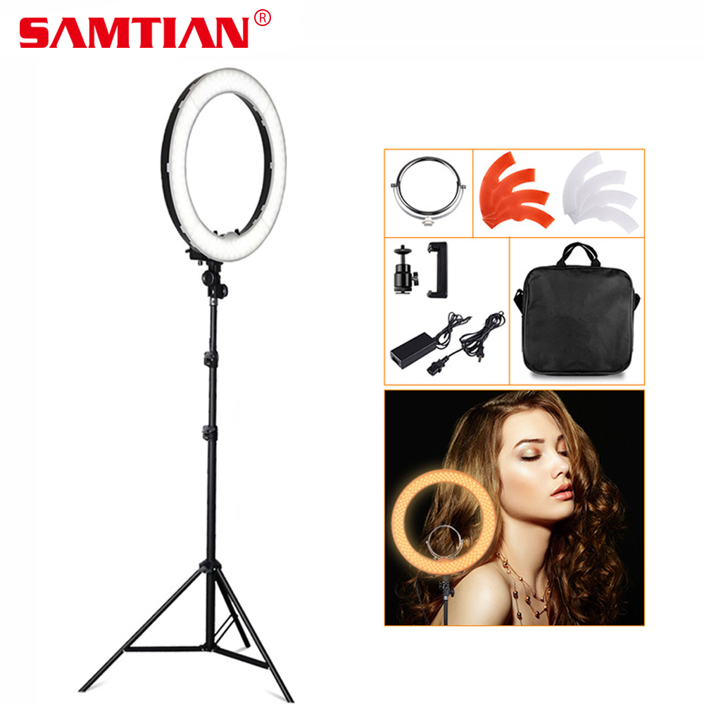 SAMTIAN 18 5500K 240 LED 55W Professional Dimmable Photography Photo Studio Phone Video LED Ring Light Lamp For Camera fotopal 55w 5500k daylight led ring light lamp for photography camera phone video photo make up selfie light annular lamp