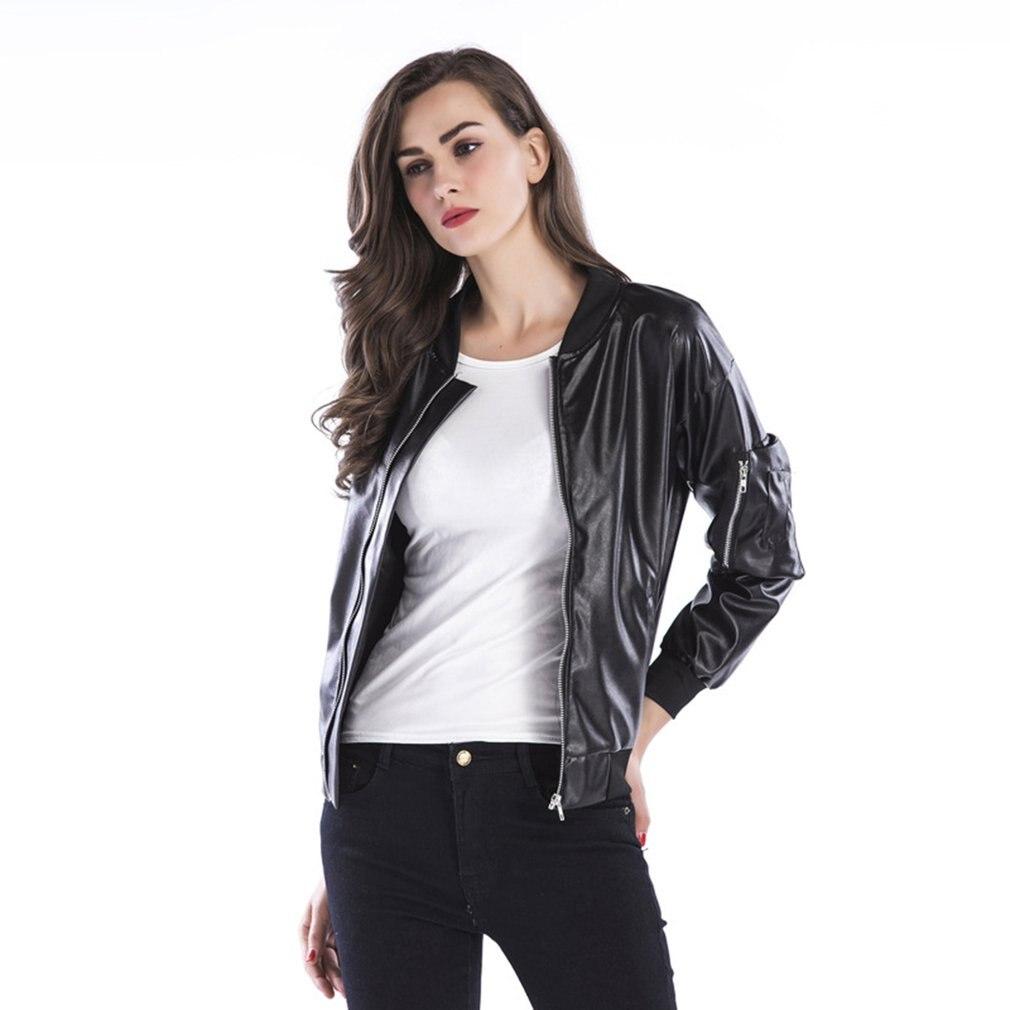 2018 Autumn Winter PU Leather Jacket Women Casual Classic Zipper Short Soft Lady Streetwear Coat Motorcycle Waterproof Coats 3