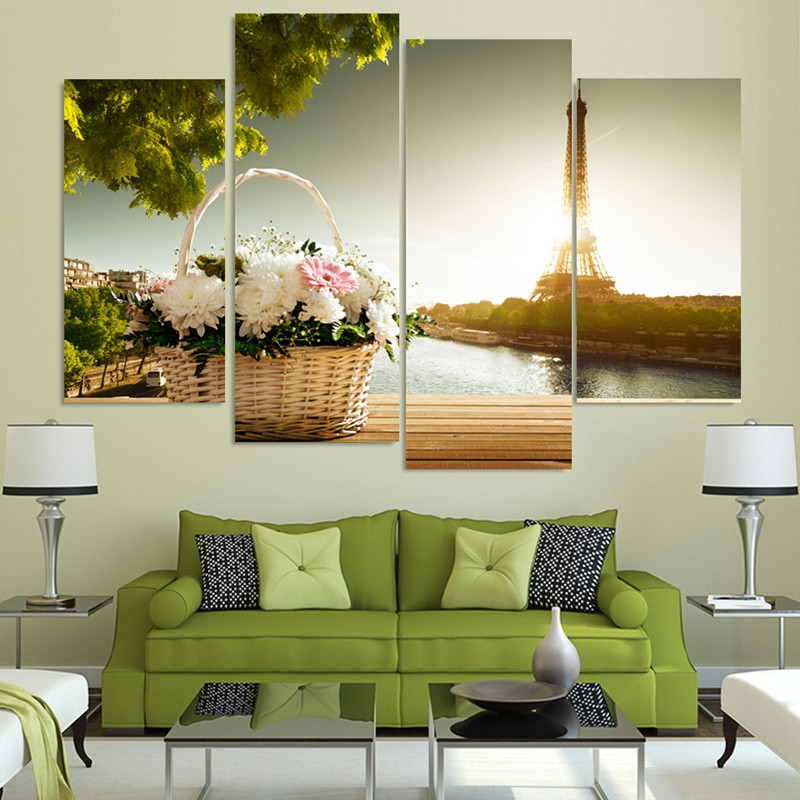 4 Pieces Modern Home Hd Decor Wall Art Canvas Baskets And The Eiffel Tower Picture Print