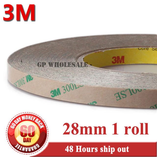 1x 28mm* 55 meters High Bond Strength Double Coated Adhsive original 3M 300LSE 9495LE for Plastics Polypropylene Surface