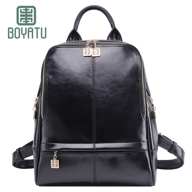 47992eacac BOYATU Genuine Leather Backpack Female Mochila Rucksack Designer Luxury  Bagpack Sac A Dos Travel Shoulder Bag for Women 2018