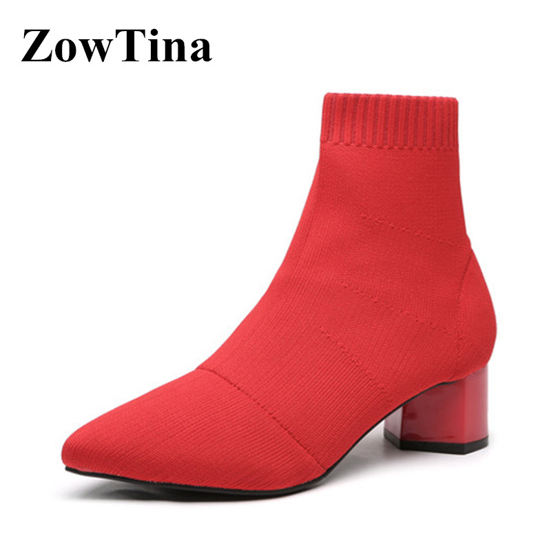 Red Elastic Stretch Fabric Women Short Boots Sexy Pointed Toe Ladies Ankle Booties Shoes Black 5cm Chunky High Heels Botas Mujer-in Ankle Boots from Shoes    1
