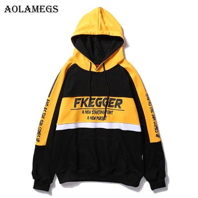 Aolamegs толстовки Для мужчин в стиле пэчворк с принтом с капюшоном High Street пуловер Толстовка Для мужчин Мода хип-хоп уличной балахон осень