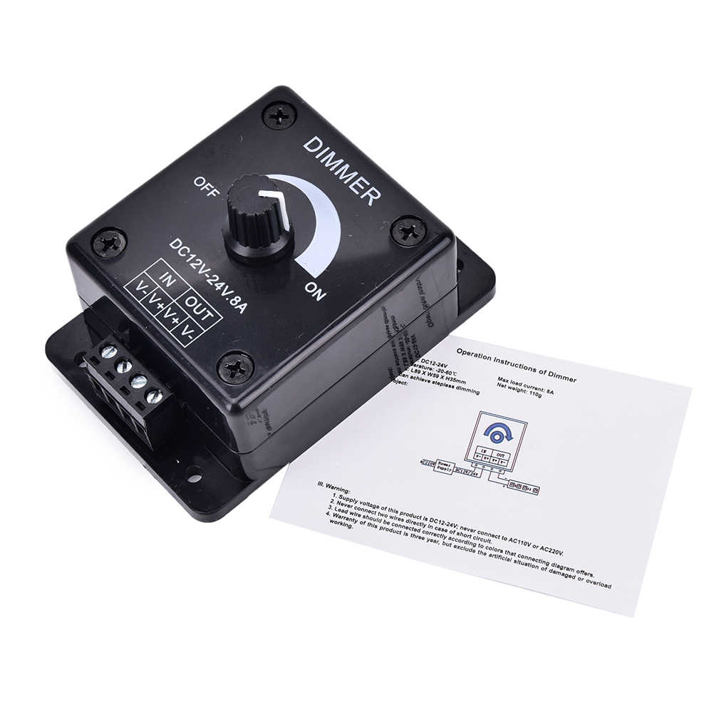 black 12v 24v 8a led dimmer switch dc adjustable brightness lamp bulb strip driver single color [ 1002 x 1002 Pixel ]