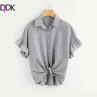 DIDK Ruffle Cuff Drop Shoulder Blouse Women S Black And White Striped Casual Tops 2017 Summer