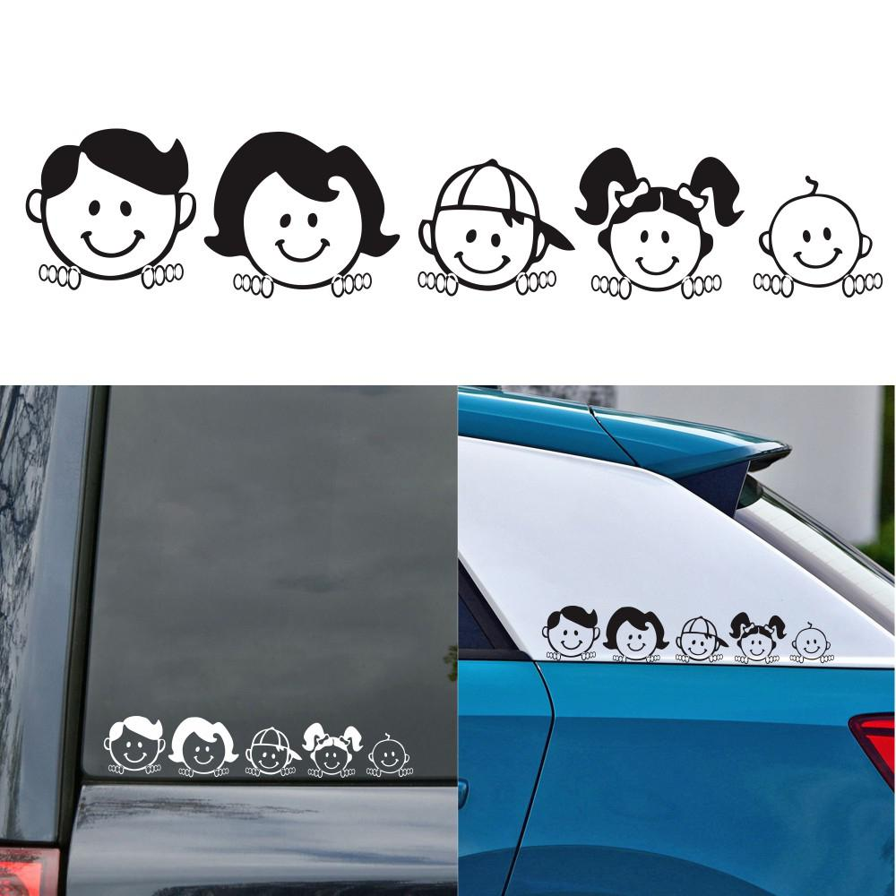 5x25cm Happy Family Vinyl Film Car Stickers Window Decal Art Design Pattern Car Body Sticker for Windshield Waterproof Accessory