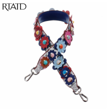 RTATD Genuine Leather Flower Rivet Design Accessories for Bags Strap Easy Mtching Lady Bag Handle Gold Silver Buckle Belts J004