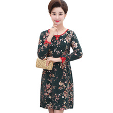Chinese Women Spring Autumn Flower Dresses Woman Red Green Oriental Dress Round Collar Long Sleeve Vestidos Femme Leisure
