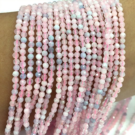 5MM RHODONITE GEMSTONE GRADE A MICRO FACETED ROUND LOOSE BEADS 15.5/""