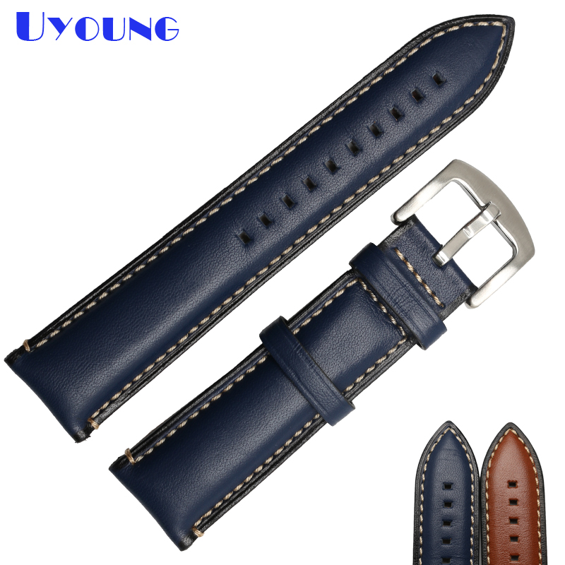 Genuine leather watch belt stitched watchband 20mm 22mm 24mm brown blue color watch strap latest charm leather bracelet