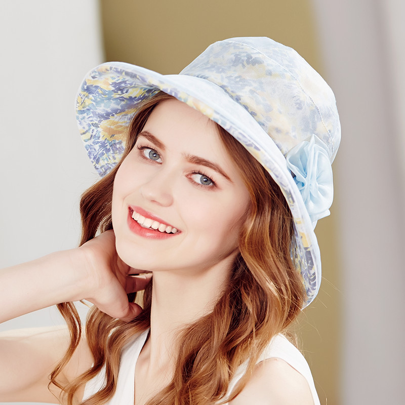 Brand Kenmont NEW Summer Hats for Women 100% Real Silk Paint Casual Vacation Sun Bucket Beach Hat Cap Women Summer Cap 3302 brand kenmont new summer hats for women 100