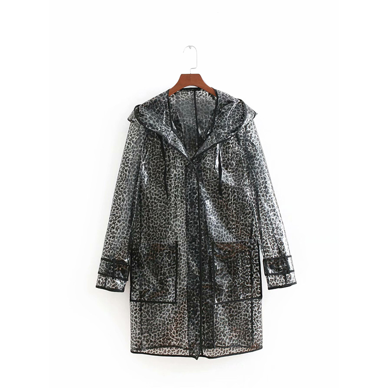 2018 New Fashion Black Leopard Long Coat Transparent Animal Print Raincoat Jacket Female Waterproof Rubber Clothes casaco Femme