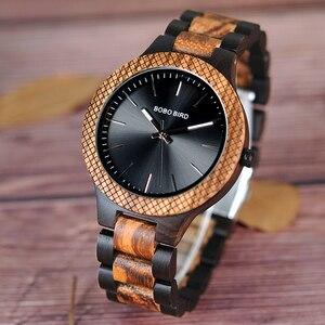 Image 1 - בובו ציפור סיטונאי קלאסי גברים של עץ שעונים שעון לוגו מותאם אישית יד שעונים גברים עם רשת לוח relogio masculino LD30 1