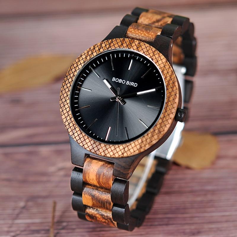 BOBO BIRD Wholesale Classical Men's Wood Timepieces Watch Custom Logo Wrist Watches Men with Grid Bezel relogio masculino LD30-1