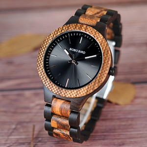 Image 1 - BOBO BIRD Wholesale Classical Mens Wood Timepieces Watch Custom Logo Wrist Watches Men with Grid Bezel relogio masculino LD30 1