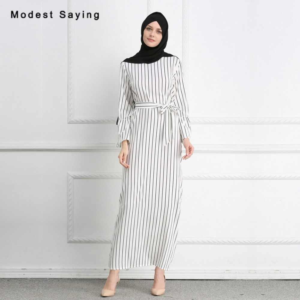 11e772903a3 Новые Модные Элегантные прямо мусульманин в полоску Вечерние платья 2018 с  Пояса одежда с длинным рукавом