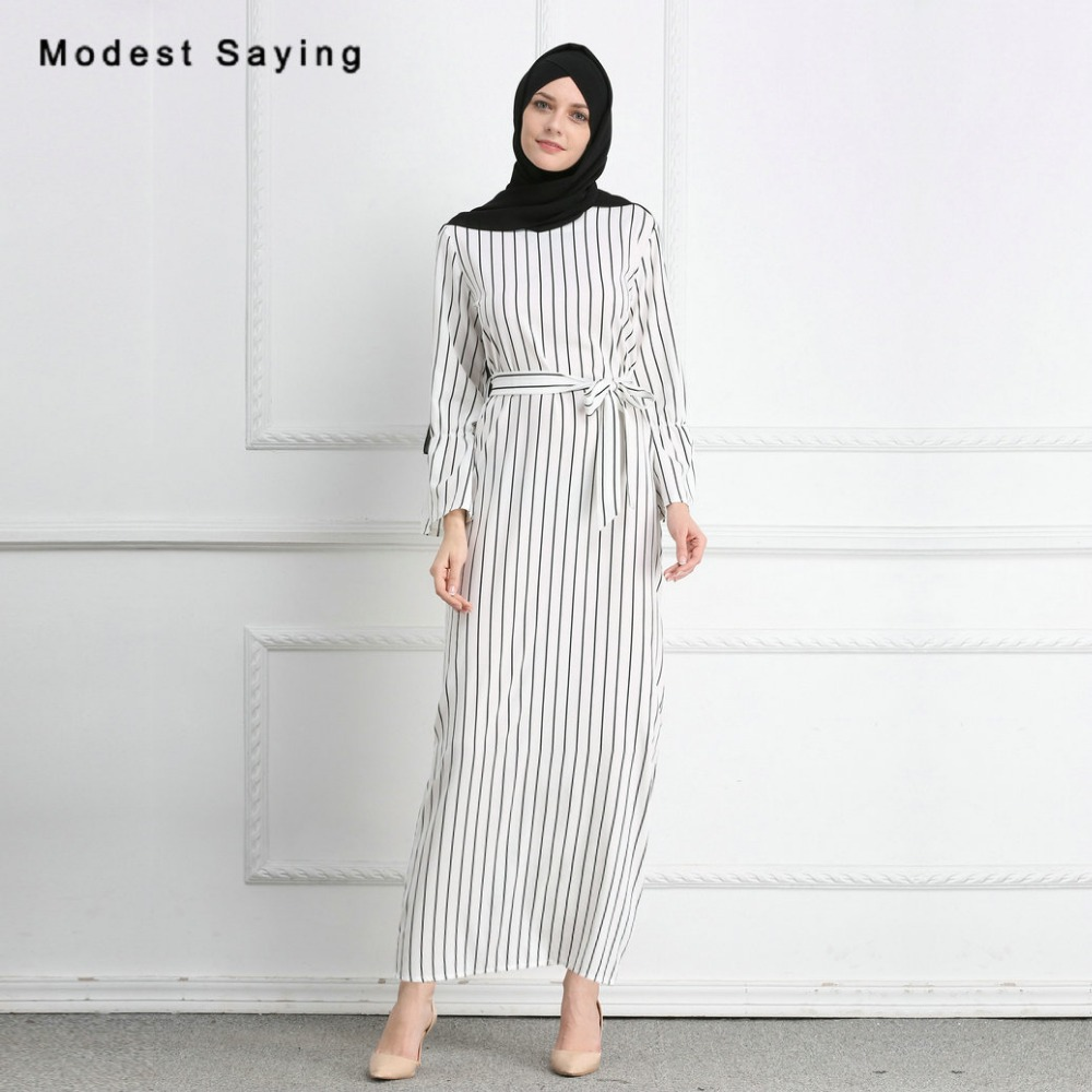 d65ad43253a Detail Feedback Questions about New Fashion Elegant Straight Muslim Stripe Evening  Dresses 2018 with Sashes Long Sleeves Party Prom Gowns robe de soiree ...