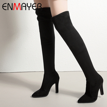 ENMAYER 2019 New Arrival  Flock Over The Knee Boots Basic Pointed Toe Super High Fashion Shoes Winter Solid Size 34-43 LY4007