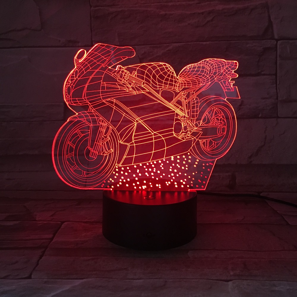 Child craft light table - Motorcycle Child Night Light 3d Illusion Led Lamp 7 Colors Changing Methacrylate Plate Table Lampen Holiday