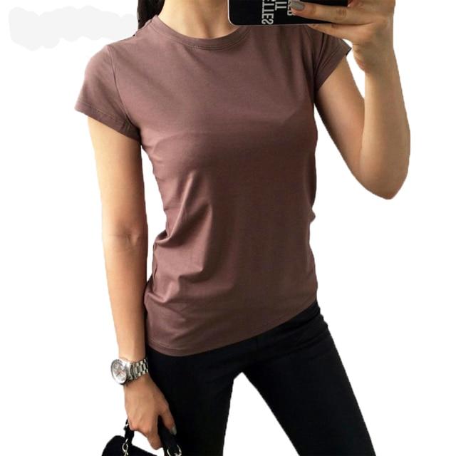 25dfda8362 Alta Qualidade Cor 18 S-XL Camisa Lisa T Mulheres de Algodão Elástico Básico  Camisetas