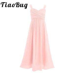 Image 1 - Księżniczka dziewczyny szyfonowa, plisowana szerokie paski na ramionach dziewczęca sukienka w kwiaty Ruched wysokiej zwężone bez rękawów linia wesele sukienka