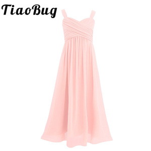 Image 1 - Princess Girls Chiffon Pleated Wide Shoulder Straps Flower Girl Dress Ruched High waisted Sleeveless A Line Wedding Party Dress