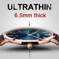 Top Brand Luxury Quartz Watch Men Rose Gold Japan Quartz Watch Genuine Leather Stap Calendar Display