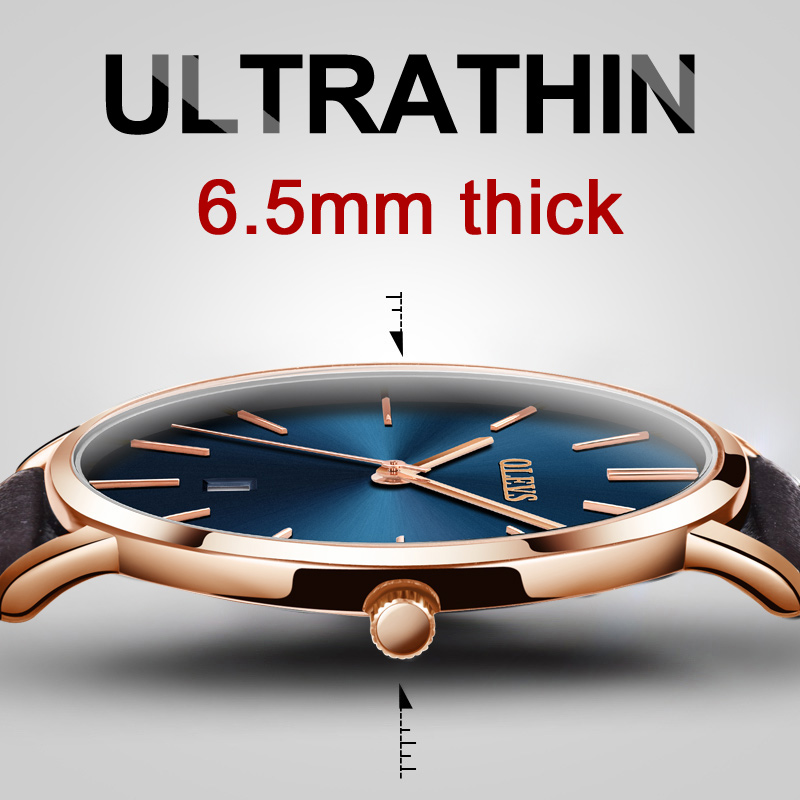 Ultra tynn Watch Menn Casual Brown Leather Quartz Herreklokker Rose Gold Date Watch Mannlig reloj hombre Vanntett montre homme