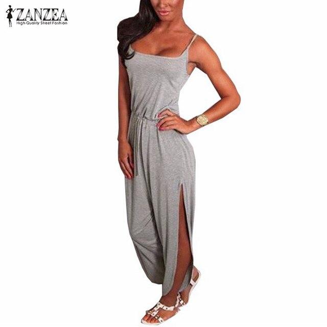 ZANZEA 2017 Fashion Summer 2016 Rompers Women Jumpsuit Sexy Spaghetti Strap Sleeveless Split Waist Bandage Solid Overalls