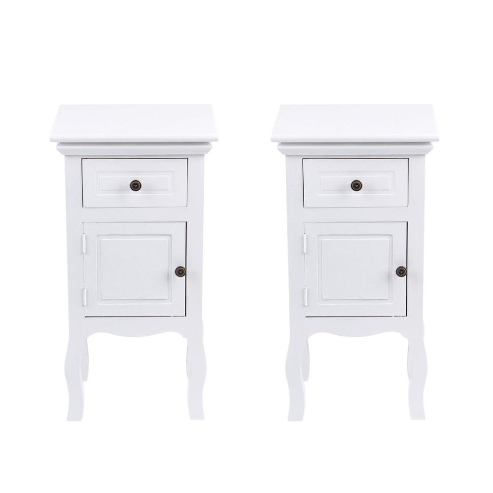 White 2 Pcs Wood Bedside Table Desk Unit Cabinet 1 Drawer + 1 Cupboard Floor Nightstand Bedroom Home Decoration Furniture