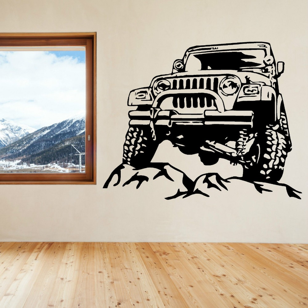 ₪Cool Jeep Car On The ୧ʕ ʔ୨ Road Road Pattern Art Wall ...