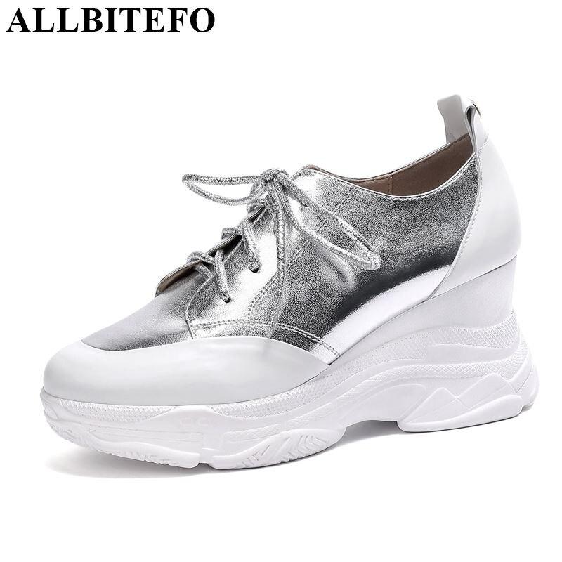ALLBITEFO brand genuine leather high heels casual platform wedges women heels bling spring autumn heels shoes