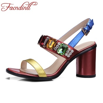FACNDINLL women sandals 2017 new fashion genuine leather red rhinestone gladiator summer sandals shoes woman dress party shoes