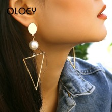 OLOEY 2019 New Fashion Long Geometric Earrings For Women Pearl Triangle Metal Drop Golden Color Female Hanging Jewelry