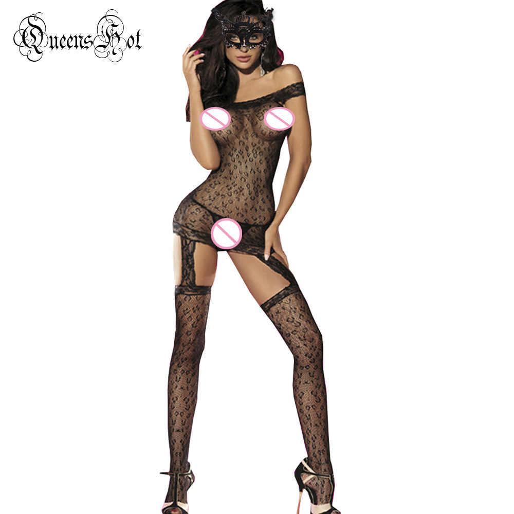 Прозрачное леопардовое кружевное боди с голой лямкой на плече, чулки, сексуальный латексный пикантный пикантное белье комбинация, костюмы + Eyemask