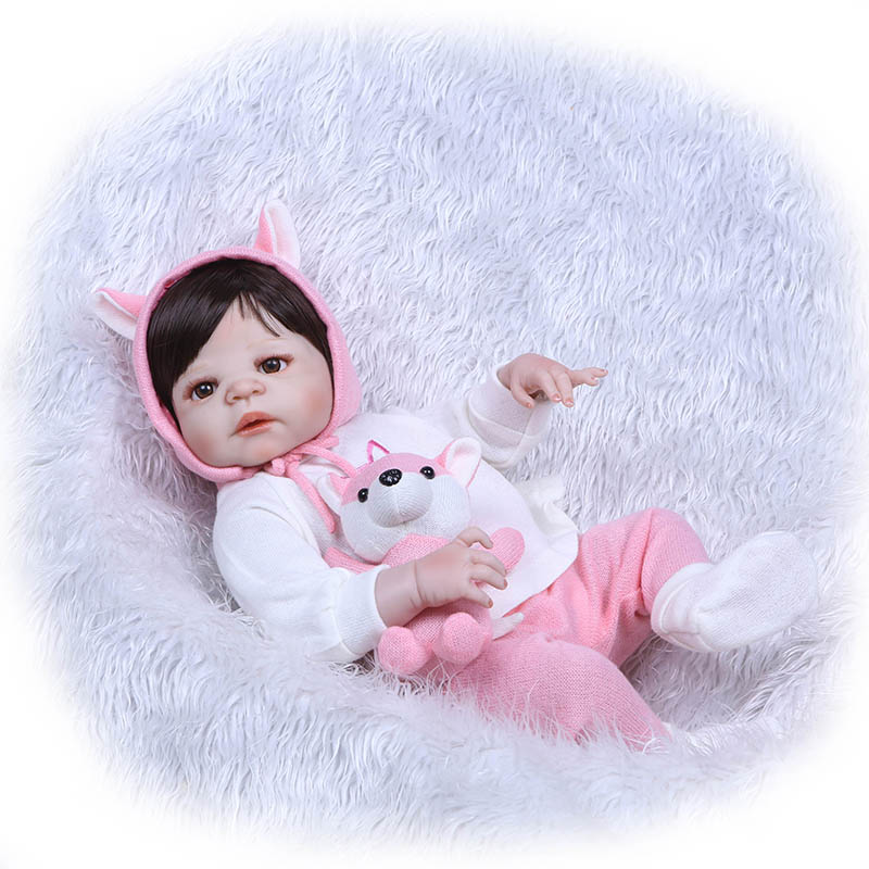 56CM Reborn Doll Toy Full Body Silicone 3D Lifelike Jointed Newborn Doll Gift Playmate S7JN 56cm baby reborn doll full body silicone 3d lifelike jointed newborn doll playmate gift bm88