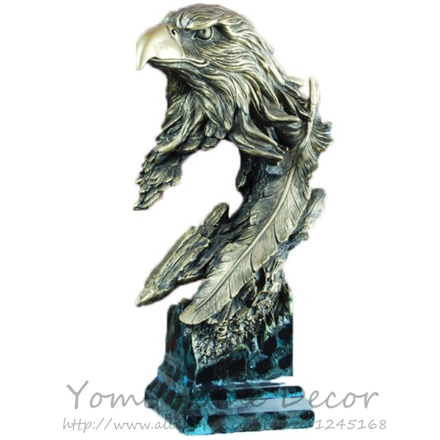 14 High Large Decorative Resin Eagle Head Bust Statue With
