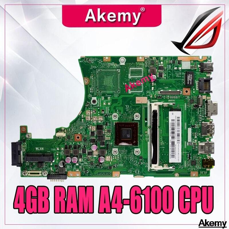 X455WA اللوحة لابتوب For Asus X455W X455WE X455WA X454W X454WA اللوحة 100% اختبار 4GB RAM A4-6100 وحدة المعالجة المركزية