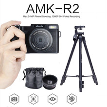 AMKOV DSLR Cameras 3.0 TFT Rotatable Screen 1080P HD 24MP Digital Camera +Wide-angle Lens+VCT-520 Tripod DSLR+Card Reader