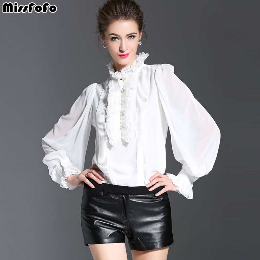 MissFoFo 2017 Spring New Arrival One Piece Shirt Loose Female Work Wear White Black Fashion Coat